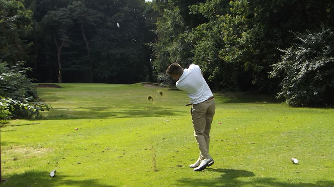 Jack Brown tees off at the short 9th hole at Royal Norwich