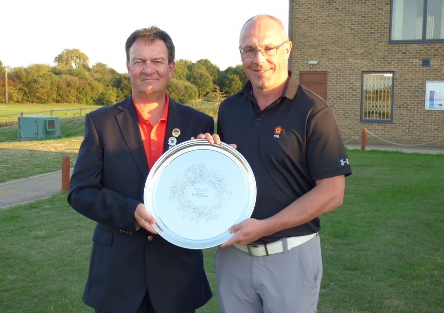 Graham Bott with LRGU President Kevin Whitfield-Green and the Anglian League Trophy